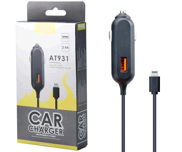 CARGADOR MECHERO IPHONE 5-6-7 + USB MIMO AT931 NEGRO