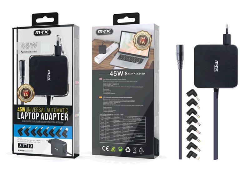 Cargador universal portatil automatico aT719 - 8 conectores - 45w - 1.2m - negro