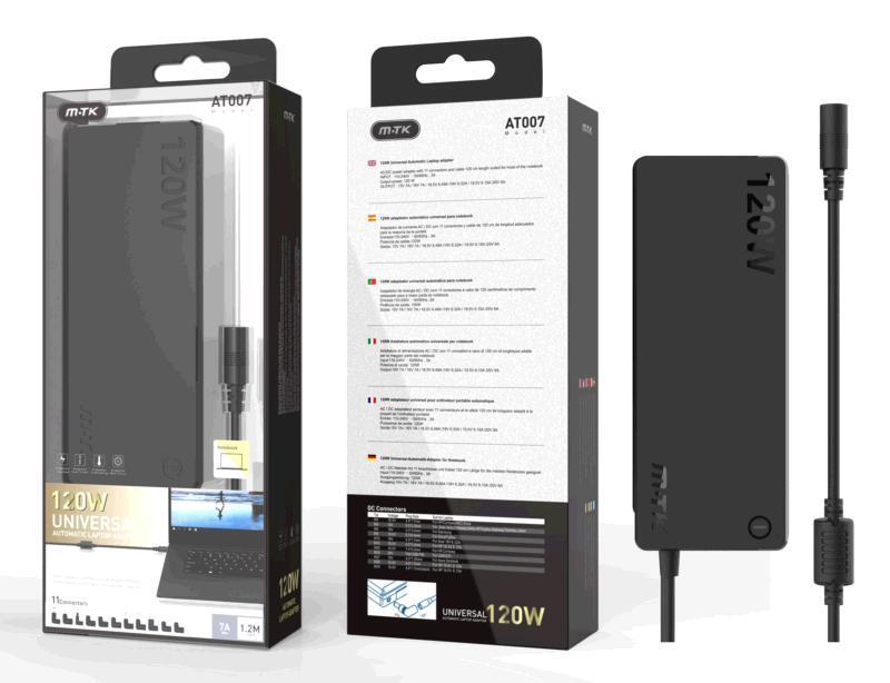 Cargador universal portatil automatico aT007 - 11 conectores - 120w - 1.2m - negro