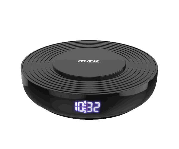 Cargador rapido inalámbrico Qi  10w - Reloj - Despertador - Negro - Mtk
