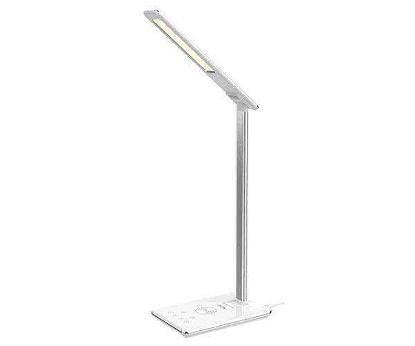 Lampara de mesa Led 3W Ta0250 + Cargador rapido inalámbrico Qi  5w + USB - Plata - Mtk