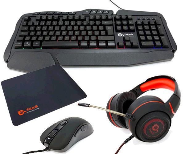 Gaming Kit Talius - Teclado - Raton - Auriculares - Alfombrilla - Negro