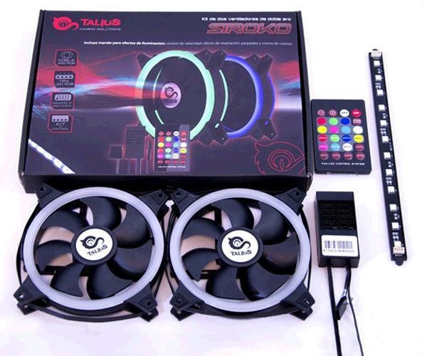 Kit Siroko Rgb Talius - 2 ventiladores doble aro Rgb + Tira Led + Control remoto