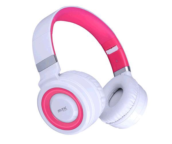 Auriculares superbass con Micro k3451 blanco-rosa ONE+
