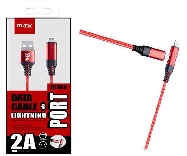 Cable datos iPhone 6-7-8 revolution bt968 - con interfaz lightning audio - rojo