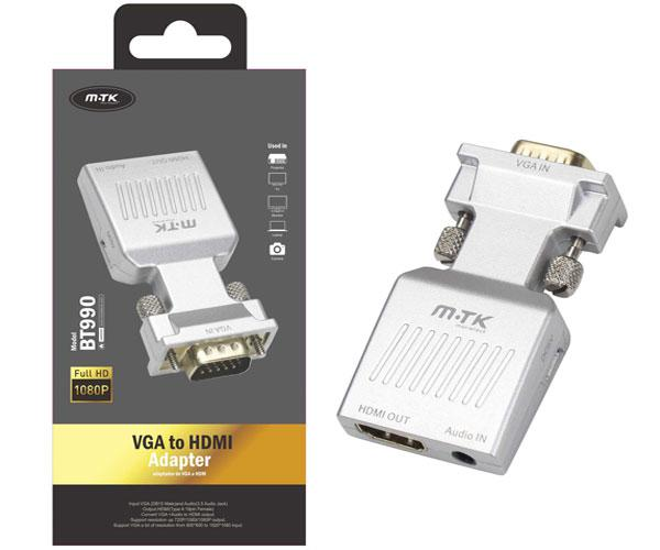 Adaptador VGA a HDMI + audio - bt990 - plata