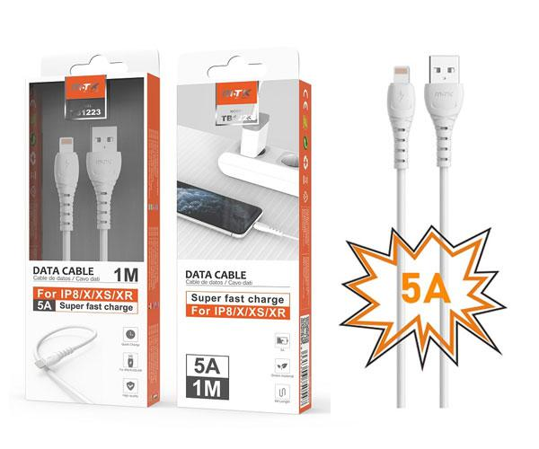 Cable datos iPhone 5-6-7-8-X-Xs-Xr Butter Tb1223 - Carga rapida - 5a - 1m - Blanco - Mtk