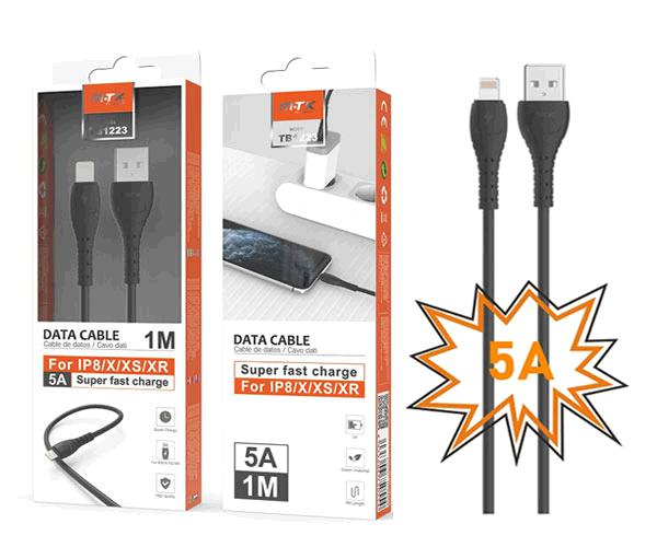 Cable datos iPhone 5-6-7-8-X-Xs-Xr Butter Tb1223 - Carga rapida - 5a - 1m - Negro - Mtk