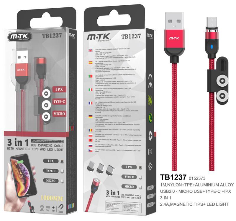 Cable de carga magnético TB1237 3 en 1 (MicroUSB + Type-C + lightning) 1m - 2.4a - rojo - ONE+