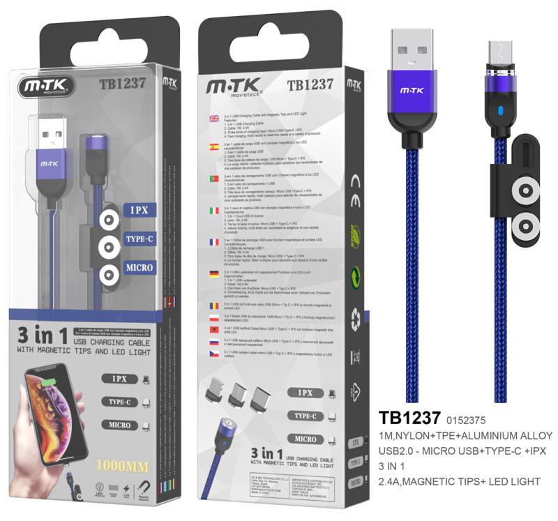 Cable de carga magnético TB1237 3 en 1 (MicroUSB + Type-C + lightning) 1m - 2.4a - azul - ONE+