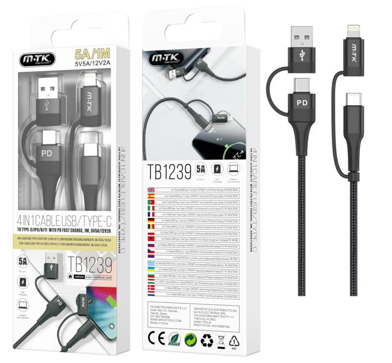 Cable de carga rapida TB1239 4 en 1 (Type-C-USB + lightning-USB ) 1m - 5A - Negro - MTK