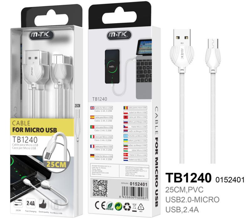 Cable USB a Micro USB 2.0 M-M  0.25m BLANCO TB1240
