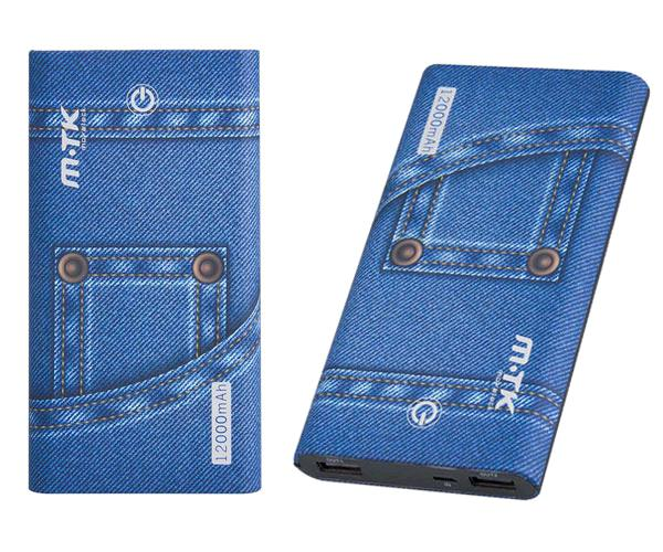 POWER BANK JEANS DT807 12000 MAH BOTON TACTIL 2.1A AZUL  MTK