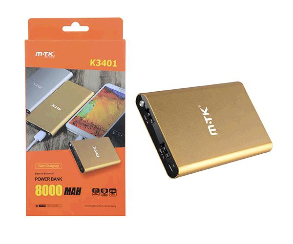 POWER BANK MTK 8000mAh ORO 2 USB 2.1A + DISPLAY K3401
