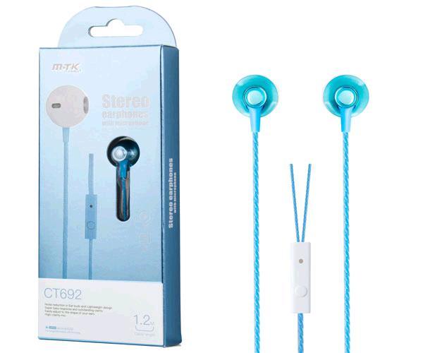 Auriculares con Microfono superbass ct692 azul MTK