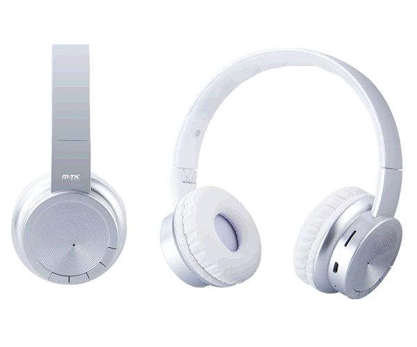 AURICULARES BLUETOOTH OXYGEN CT715 MP3 MICROSD-FM PLATA MTK