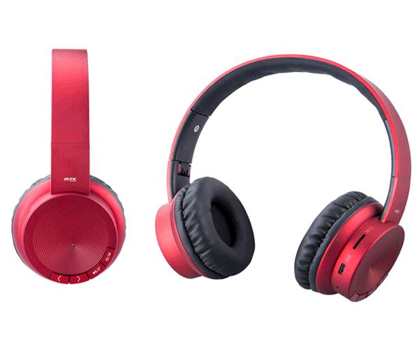 AURICULARES BLUETOOTH OXYGEN CT715 MP3 MICROSD-FM ROJO MTK