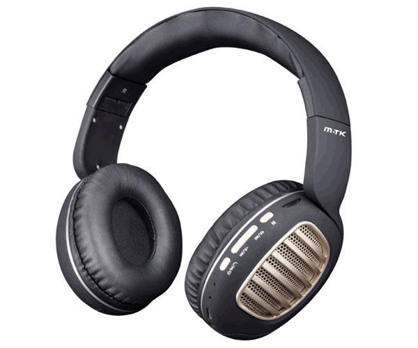 Auriculares Bluetooth Erica Ct978 - Mp3 - MicroSD - FM - Negro - Oro MTK