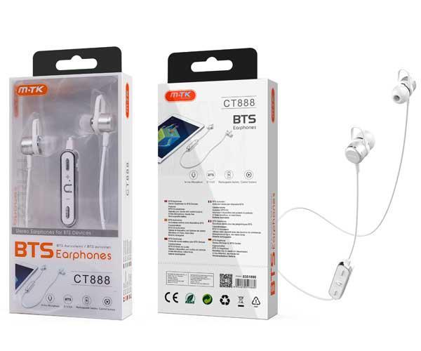 Auriculares Metal Grimer Ct888 - Bluetooth 5.0 - Rellamada - Blanco - Mtk