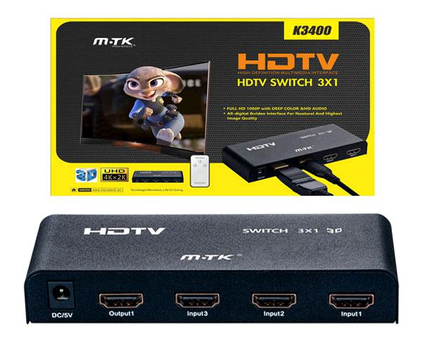 Switch HDMI 3 entradas 1 salida con mando + alimentador k3400