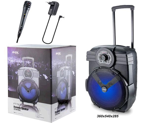 ALTAVOZ KARAOKE BLUETOOTH TIME FT797 CON MICROFONO FM-USB-AUX  NEGRO