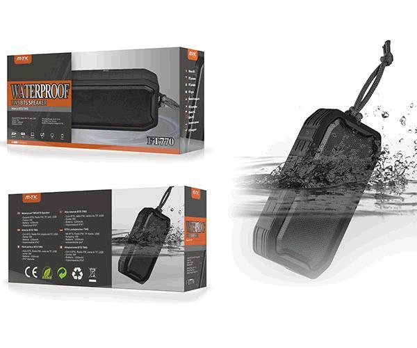 Altavoz Refex Waterproof FT770  Bluetooth - USB - MicroSD - FM - 5w negro