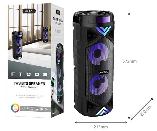 Altavoz karaoke Bluetooth Gloom Ft008 2X15W  FM-USB-aux-micro sd  negro