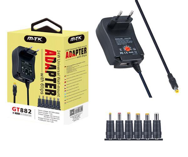 CARGADOR UNIV. GT882 - 3V-4.5V-5V-7.5V-9V-12V- 2A + USB  MON-TAB-ROUTER MTK