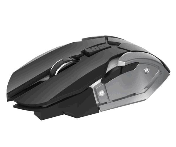 Ratón Inalambrico Gaming 6d Gt722 Onix - 1600 DPI - Negro-Gris - Mtk