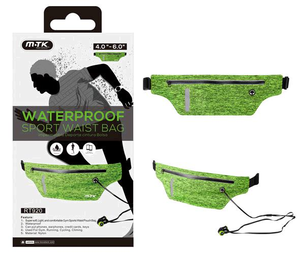Bolsa riñonera deportiva impermeable rt920 - verde - smartphones de 4 a 6 pulg.