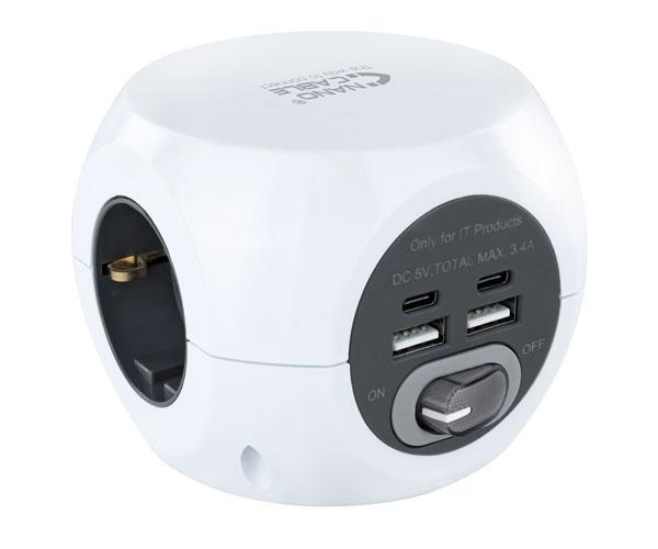 Base de 3 enchufes con interruptor + 4 USB (2 USB A + 2 USB-C) Nanocable 10.37.0001