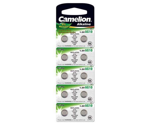 Pila boton Alcalina Lr54 1.5v Camelion (10 uds)  0% Mercurio - Ag10
