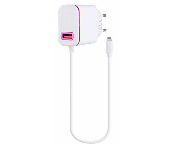 Cargador red Domo P6046  iPhone 5-6-7 + toma USB extra 2.4a Blanco-Rosa - One+