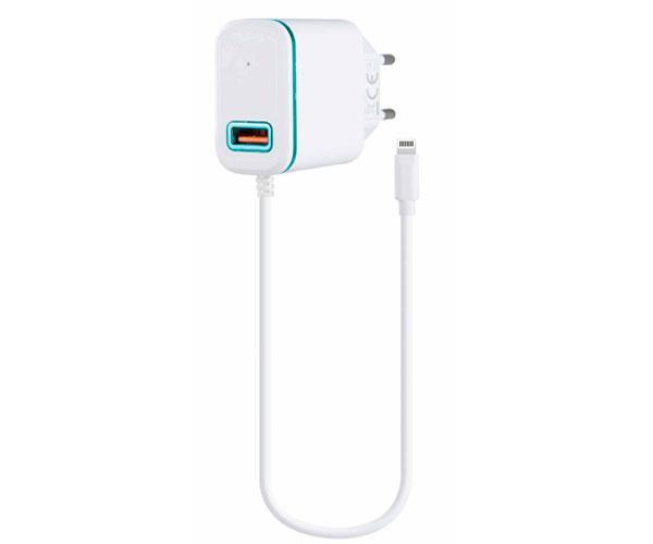 Cargador red Domo P6046  iPhone 5-6-7 + toma USB extra 2.4a Blanco-Azul - One+