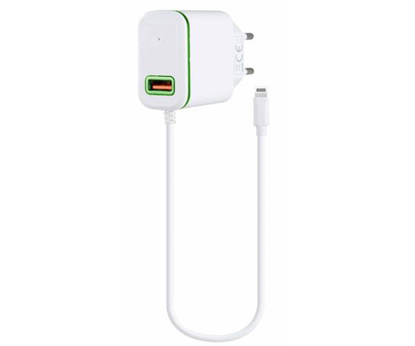 Cargador red Domo P6046  iPhone 5-6-7 + toma USB extra 2.4a  - Blanco-Verde - One+