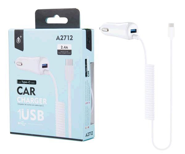 CARGADOR MECHERO TYPE C + USB A2712 NEGRO ONE+