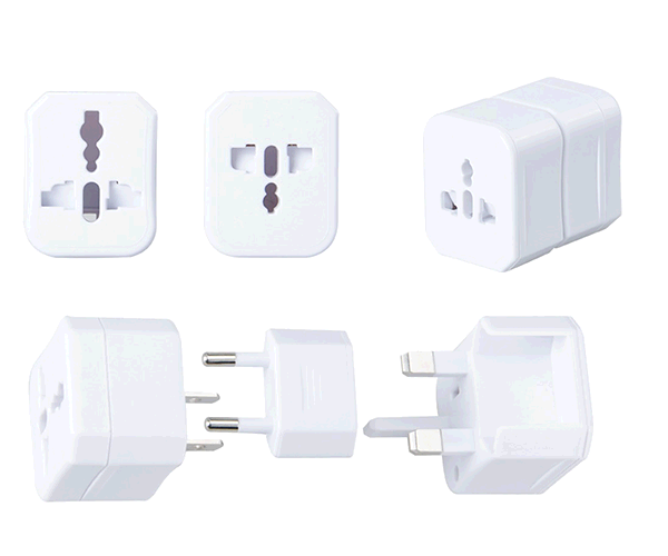 Adaptador enchufe internacional de viaje US-EU-UK A4317 blanco