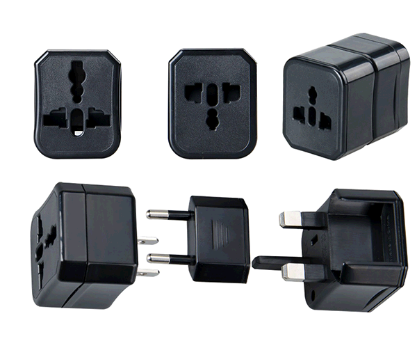 Adaptador enchufe internacional de viaje US-EU-UK A4317 negro