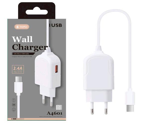 Cargador de red triton a4601 Micro USB 2.4a + 1xUSB blanco
