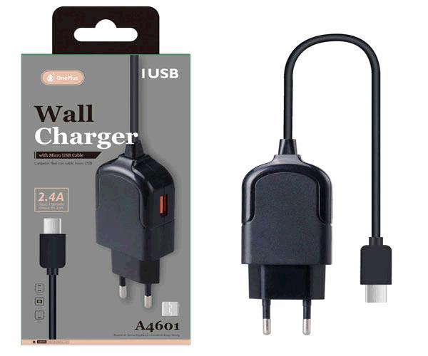 Cargador de red triton a4601 Micro USB 2.4a + 1xUSB negro