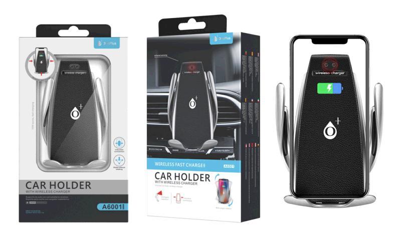Cargador rapido qi con soporte y sensor automatico coche 10w - plata - a6001 autoajustable