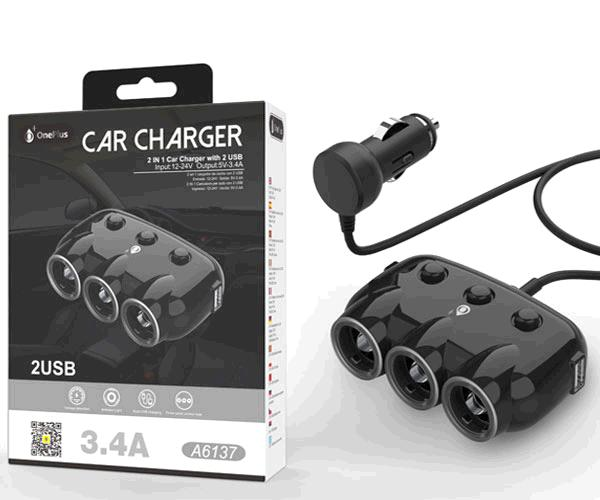 Cargador de coche Nidor A6137 - 3 salidas mechero - 2xUsb - 3.4a Max - Luz ambiente - Negro - One+