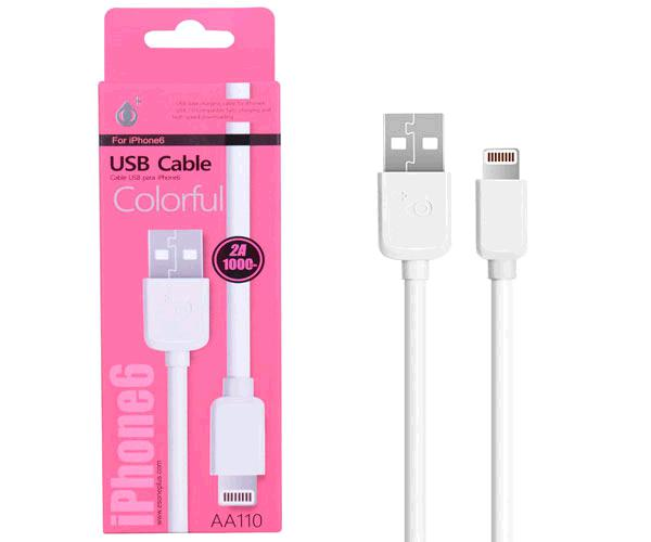 CABLE DATOS IPHONE 5-6-7 ALTA CALIDAD 1M ONE+ AA110  BLANCO