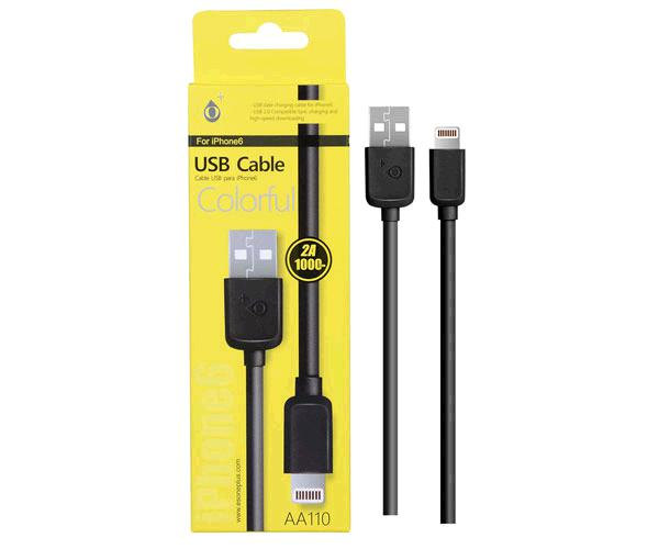 Cable datos iPhone 5-6-7-8-X-Xs-Xr aa110 - 1m - Negro - One+