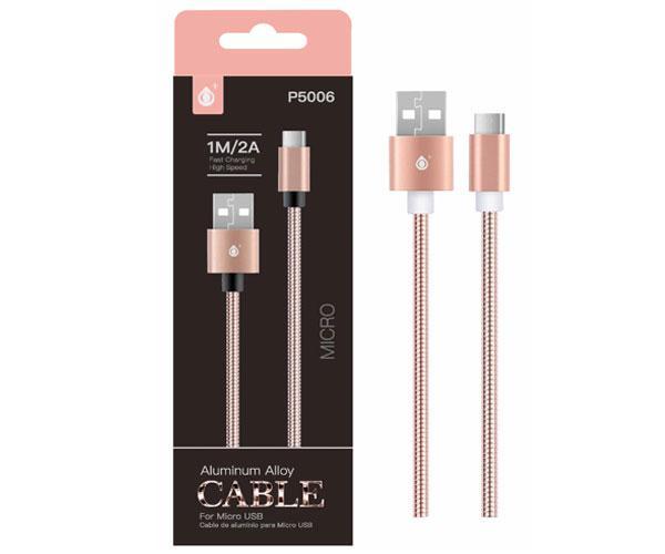 Cable datos Micro USB aluminio p5006 1m - 2a - rosa oro - ONE+