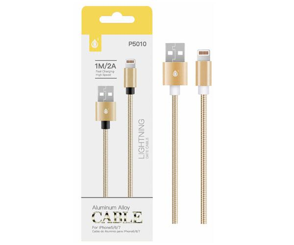 CABLE DATOS IPHONE 5-6-7 ALUMINIO P5010 1M  2A ORO ONE+