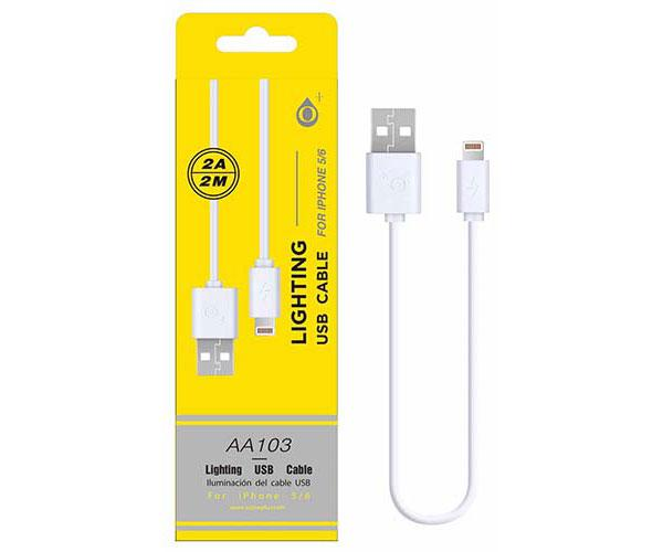 CABLE DATOS IPHONE 5-6-7 ALTA CALIDAD 2M ONE+  AA103  BLANCO