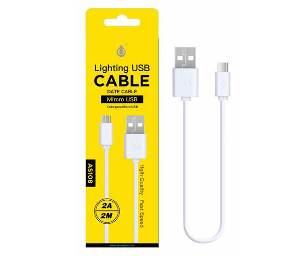 Cable datos USB a  Micro USB - 2m - 2a - as108- Blanco - ONE+