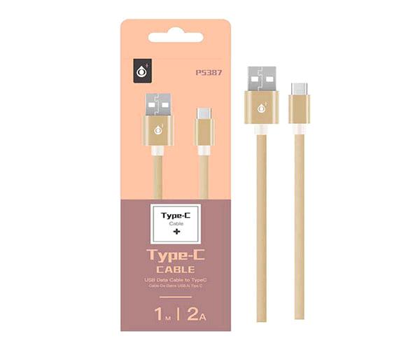 CABLE DATOS USB 2.0 A TYPE-C METALICO BEIS 1M  P5387 ONE+
