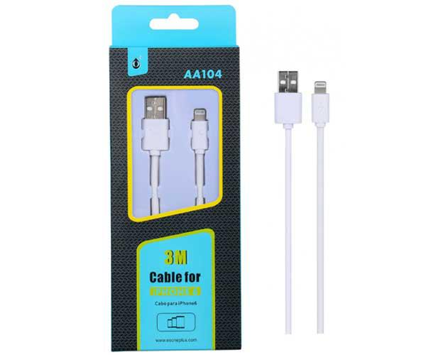 Cable datos iPhone 5-6-7-8-X-Xs-Xr aa104 - 3m - 2.4A - One+